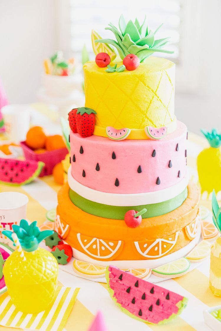 Summer Birthday Cakes Colourful Watermelon And Fruit Cake How Cool Is That Would Make