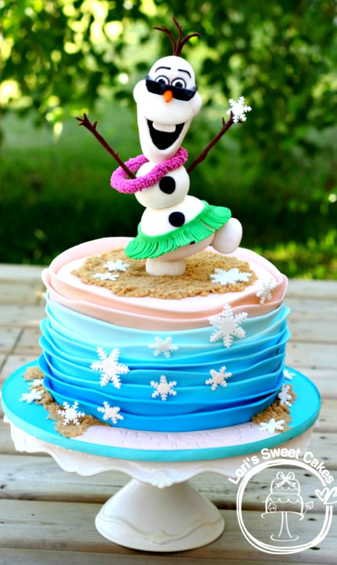 Summer Birthday Cakes Olaf In Summer Cake Olaf Is Made Of Rice Krispie Treatss And