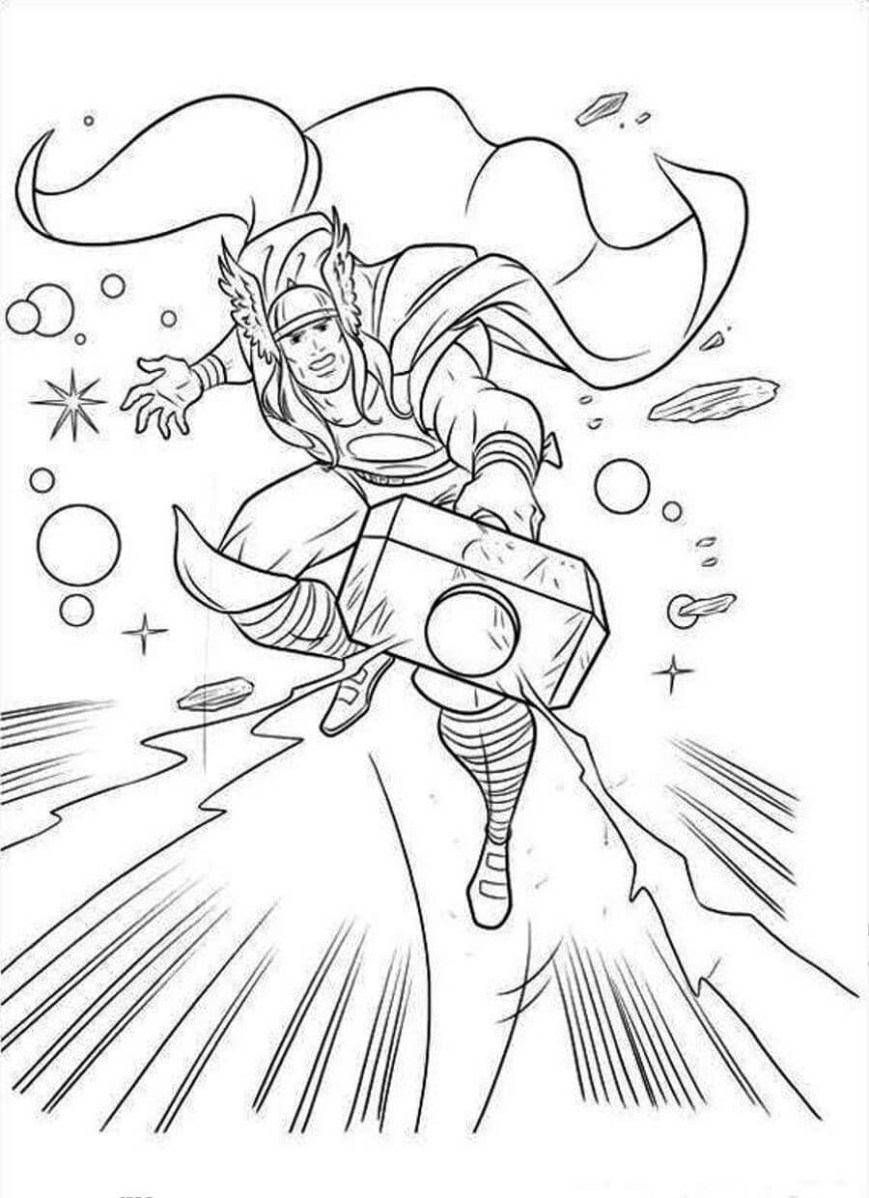 Thor Coloring Pages Thor Coloring Page Funnyhub