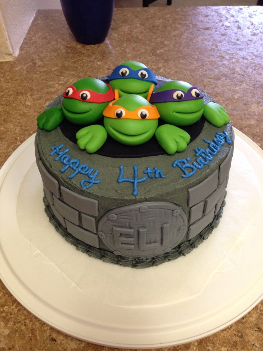 Tmnt Birthday Cake Tmnt Cake I Made For My Sons 4th Birthday I Used Fondant For The