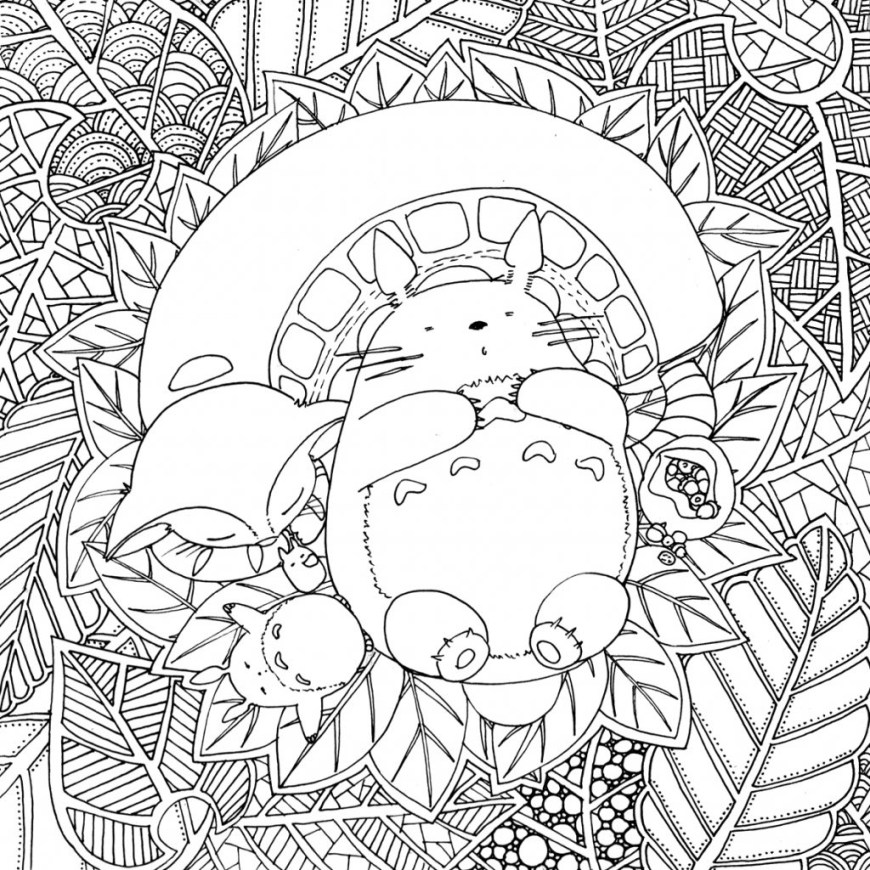 Totoro Coloring Pages Totoro Coloring Pages My Neighbor Printable Page 5 P