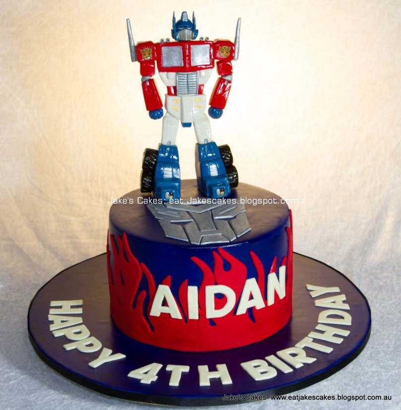 Transformers Birthday Cake Jakes Cakes Optimus Prime Transformers Cake