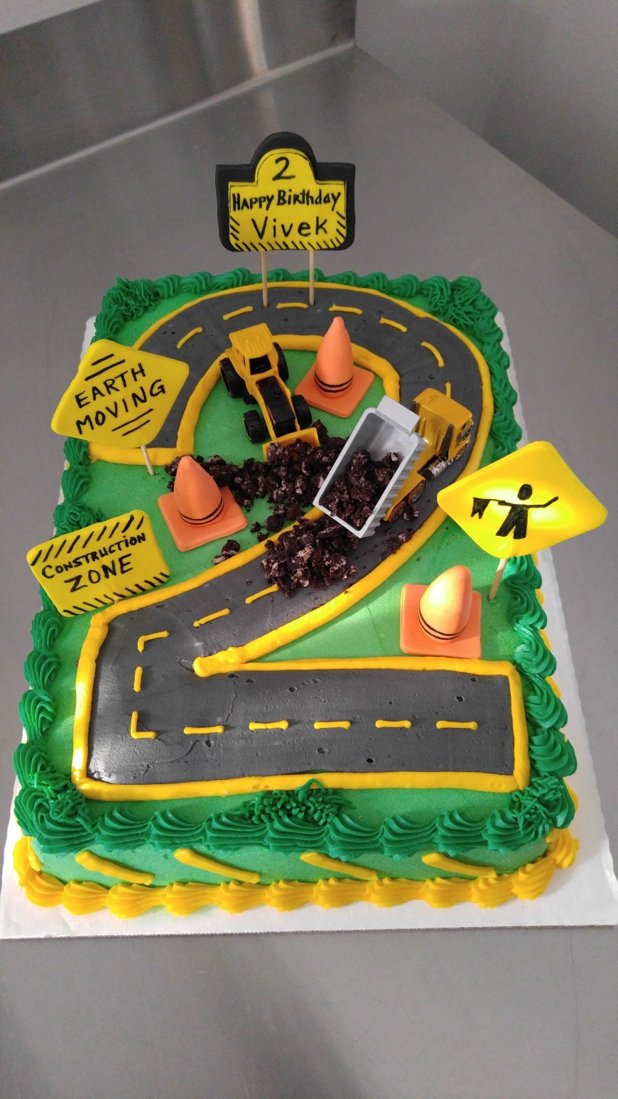 Truck Birthday Cake Construction Zone Birthday Cake For 2 Year Old Excavator Dump