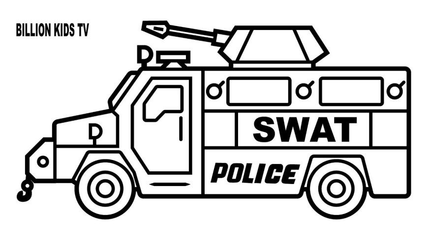 Trucks Coloring Pages Drawing Swat Police Truck Coloring Page Youtube Pages Free Monster