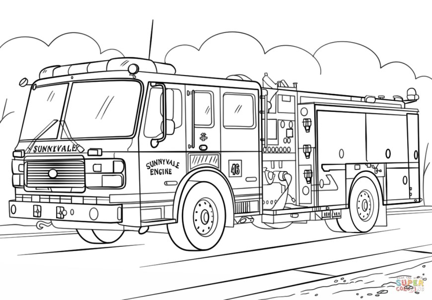 Trucks Coloring Pages Fire Truck Coloring Page Free Printable Coloring Pages