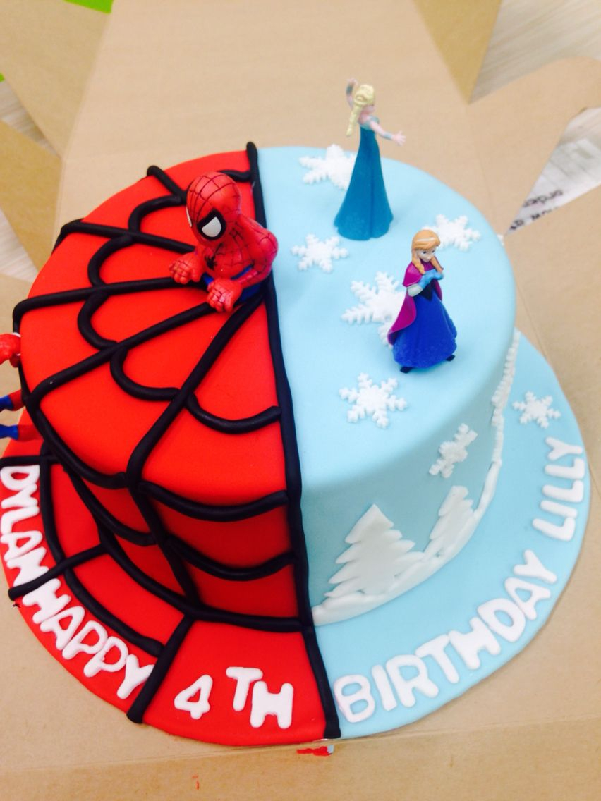 Twins Birthday Cake Frozen And Spiderman Cake For My 4 Year Old Twins Cake Pinterest