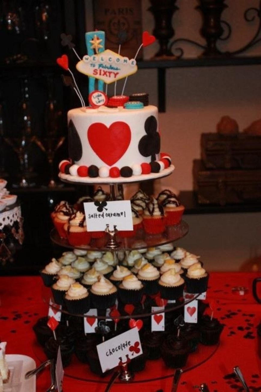 Types Of Birthday Cakes Casino Birthday Cake Topper With Three Different Types Of Mini