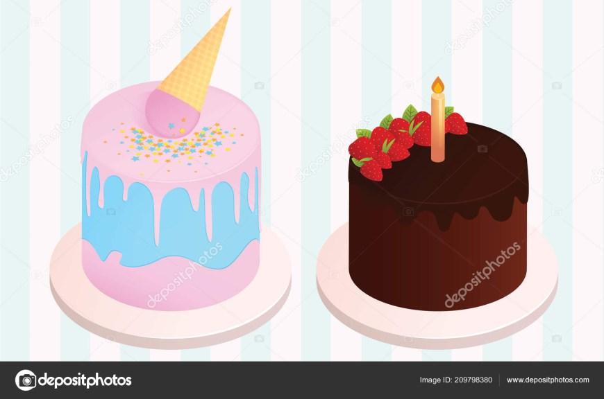 Types Of Birthday Cakes Set Birthday Cakes Birthday Party Elements Vector Illustration