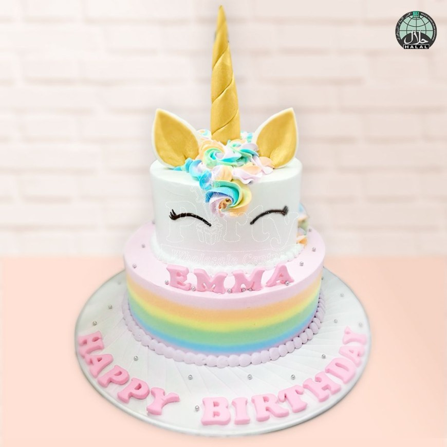 Unicorn Birthday Cake Customised Magical Unicorn Pastel Two Tiered Birthday Cake Party