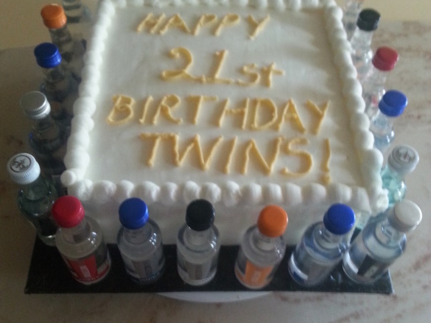 Vanilla Birthday Cake Shot Twins 21st Birthday Cake Cakecentral