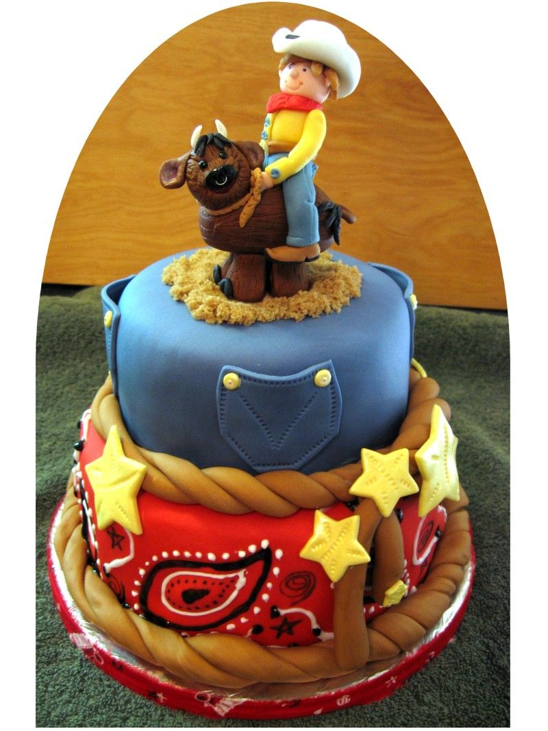 Western Birthday Cakes Awesome Western Party Cake With Cowboy Riding A Bull Kids