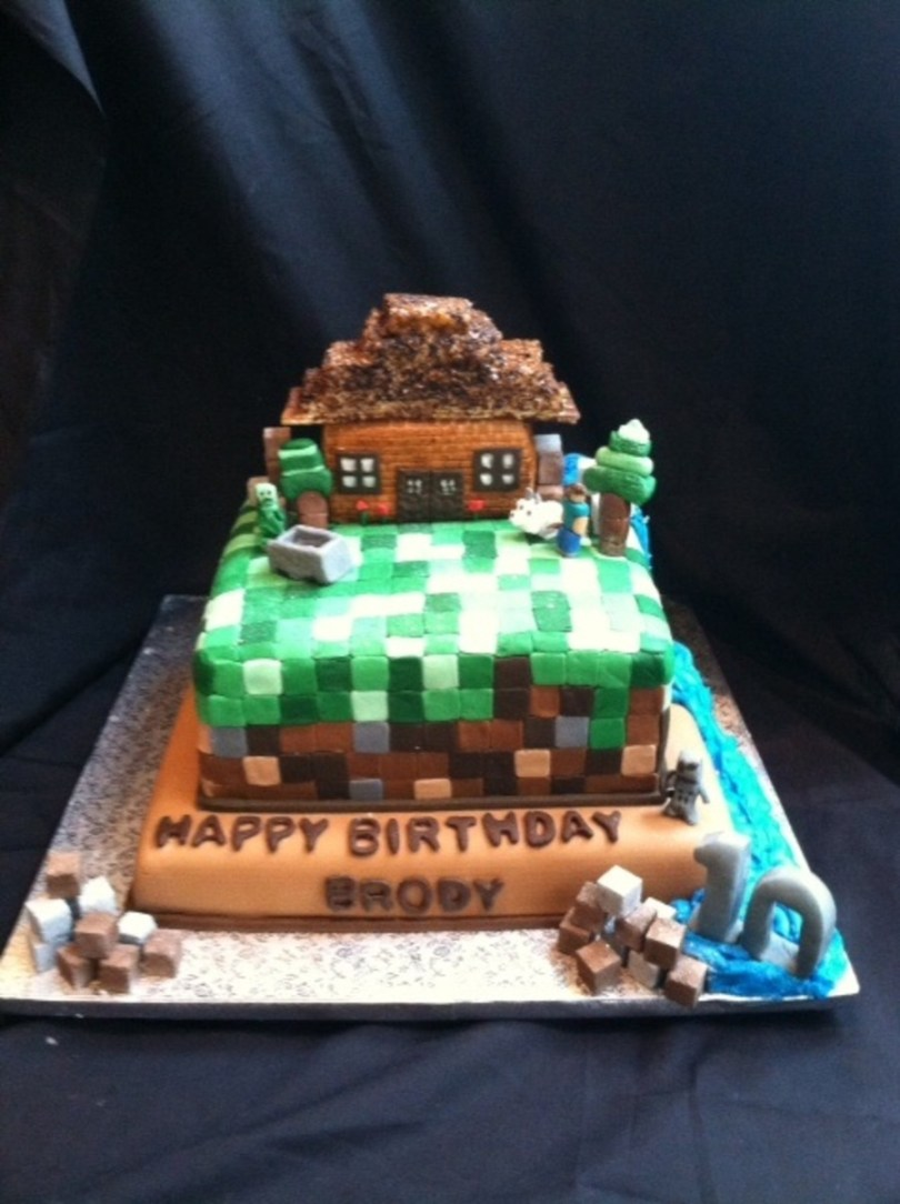 Wolf Birthday Cake Minecraft Birthday Cake With Waterfall Complete With Creepers