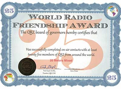 QRZ World Radio Friendship Award