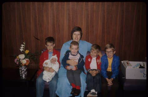 A rare photo of Mom and all 5 of us with baby Anders