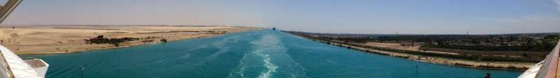 Header: Suez canal from ship stern