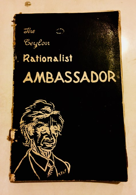 The Ceylon Rationalist Ambassador – Sri Lanka Books & Ledgers