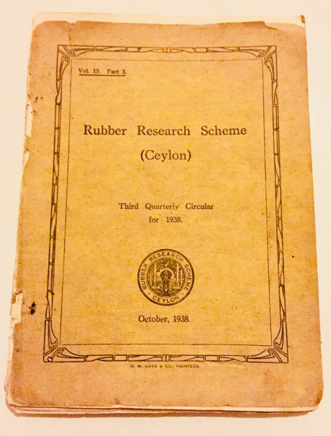 Rubber Research Scheme – Sri Lanka Books & Ledgers