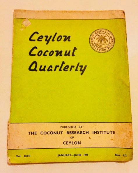 Ceylon Coconut Quarterly – Sri Lanka Books & Ledgers