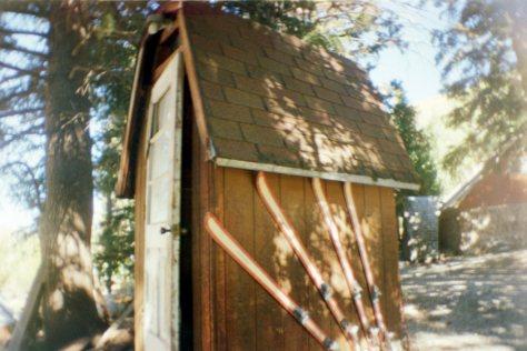 Earthship VW bus/sauna: shed, with skiis