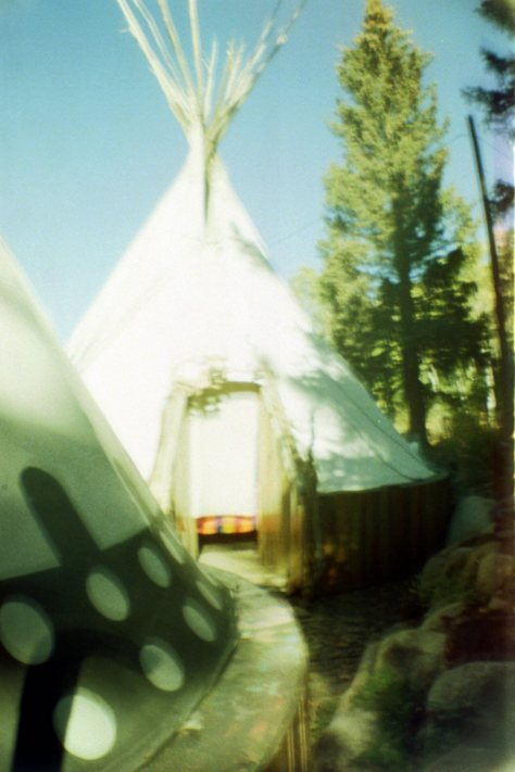 Earthship VW bus/sauna: tipi village