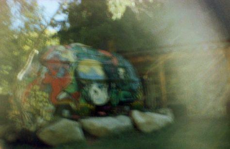 Earthship VW bus/sauna: bus and last chance saloon