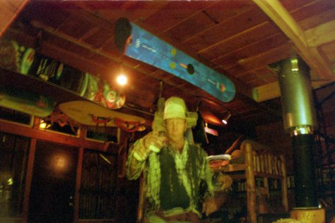 Earthship VW bus/sauna: Marty inside Mangy Moose Lodge with snowboard museum