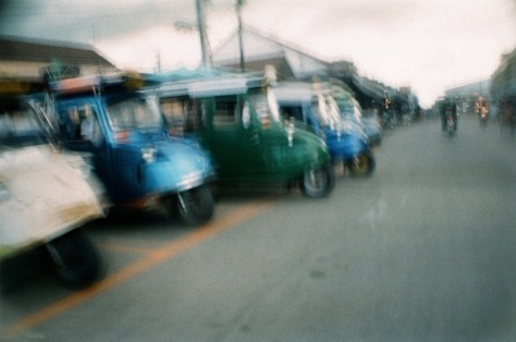 Scenes of Life in Phitsanulok: tuk-tuks waiting passengers