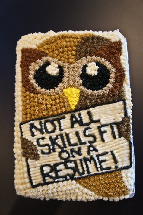 Not All Skills Fit on Resume cake by Destin (photo credit ?)