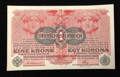 "Austrian-Hungarian: 1 Krone (1916). Overprinted in black color ""Deutschösterreich"" (front)"