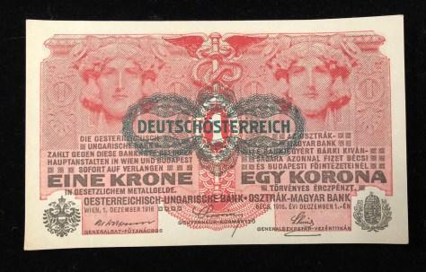 "Austrian-Hungarian: 1 Krone (1916). Overprinted in black color ""Deutschösterreich"" (front)"