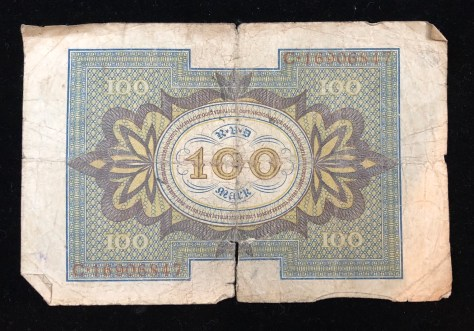 Reichsbanknote (Republic Treasury Notes) - 100 Mark, circa 1920 (back)