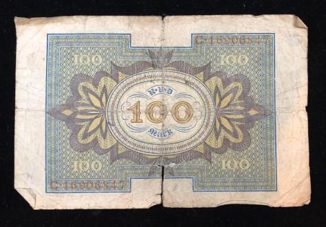 Reichsbanknote (Republic Treasury Notes) - 100 Mark, circa 1920 (back)