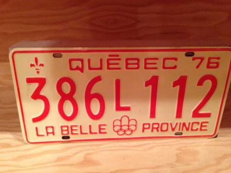Quebec license plate