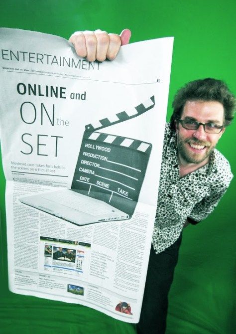 Dave in Vancouver Sun discussing Movieset - photo Quinn Bender