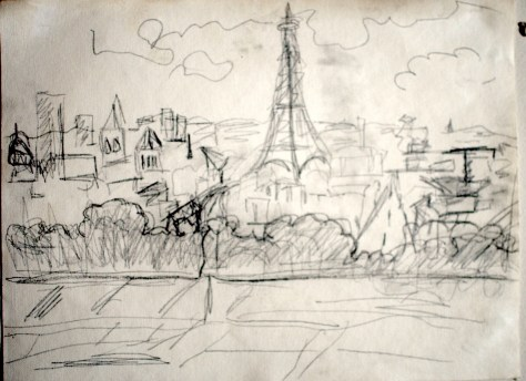 "Eiffel Tower from Arc du Triumph, Paris, 2005 - pencil on paper 11""x17"""