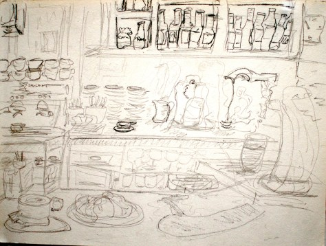"Café with wine and beer on tap, espresso, croissants and the like, Santiago de Compostela, Spain, 2005 - pencil on paper, 11""x17"""