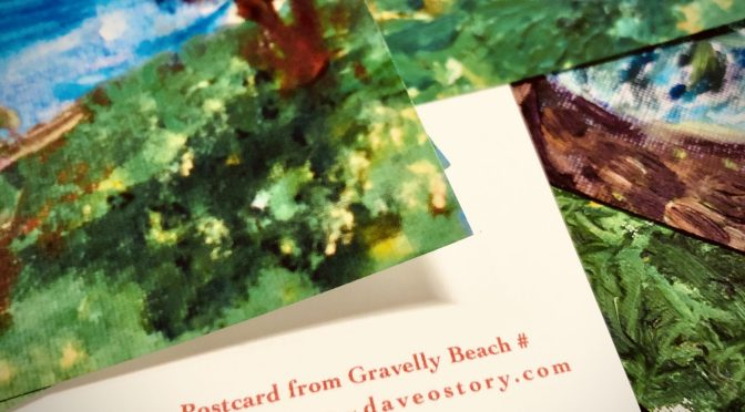 Items: Gravelly Beach postcards x7 (for purchase)