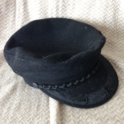 Hats: Greece, fisherman's cap, black – acquired Athens (or Olympia)