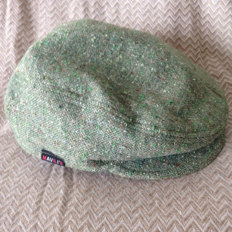 Hats: green, flatcap (pageboy), handmade by Mavili – a hatmaker originally from Georgia (country, not state) and purchased at Lonsdale Quay