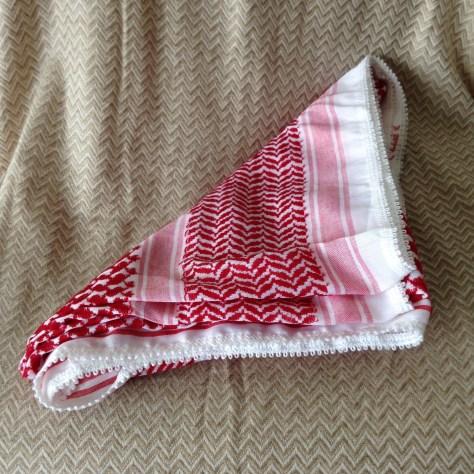 Hats: Jordan, keffiyeh (or kufiya), red/white –acquired in Aqaba