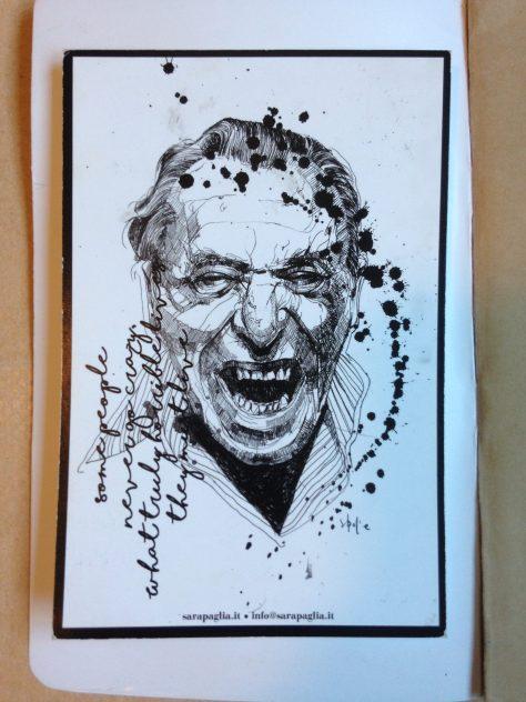 Journal: Bukowski postcard from Roma, 2017 (inside cover)