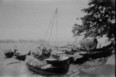 Fishing boats and nets near Mahatma Gandhi beach