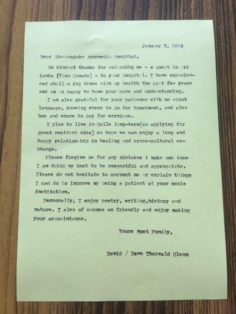 Letter to Sri Lanka Ayurveda hospital