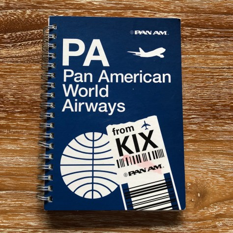 Vintage-esque Pan Am Airways design in spiral notebook (with graph-style paper inside) from KIX (Kansai/Osaka) Airport