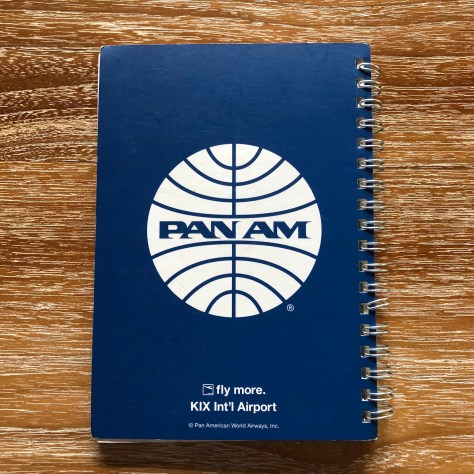 Vintage-esque Pan Am Airways design in spiral notebook from KIX (Kansai/Osaka) Airport (back cover)