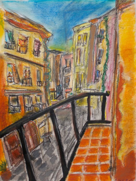 paint-elsewhere-Barcelona Alley (Granada, Spain)  pastel on paper