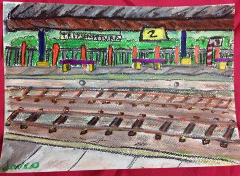 paint-elsewhere-Tripunithura Train Station (Ernankulum, Kerala, India)  oil pastel