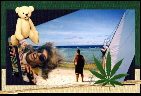 paint-static montages-HempenLife Guam etc, 1996  mixed media collage (with David White)
