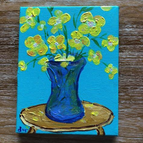 painting flowers blue