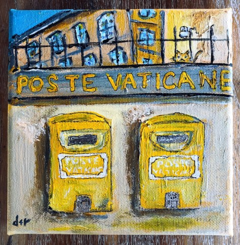 2 Postboxes with cat (Vatican) / acrylic etc.